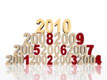 Nuovo 2010 dorato sulla piramide Immagine Stock Libera da Diritti