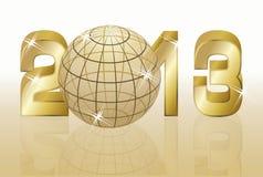 Nuovo 2013 anni dorato con il globo Immagini Stock Libere da Diritti