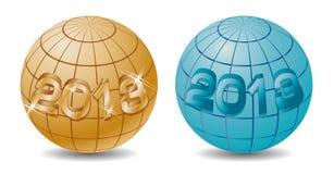 Nuovo 2013 anni sul globo Immagine Stock Libera da Diritti