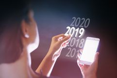 Nuovo 2019 anni in alta tecnologia fotografia stock