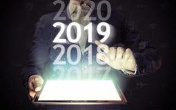 Nuovo 2019 anni in alta tecnologia fotografia stock libera da diritti