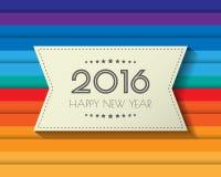 Nuovo 2016 anni felice Cartolina d'auguri Progettazione variopinta Ill di vettore Immagine Stock