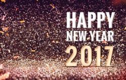 Nuovo 2017 anni felice nel fondo d'annata di scintillio dell'estratto di colore Immagini Stock Libere da Diritti