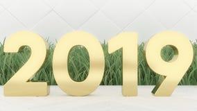 Nuovo 2019 anni felice Numeri 2019 dell'oro dell'illustrazione di festa 3d Su una priorità bassa di legno Erba verde Copertura d' fotografia stock libera da diritti