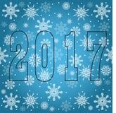 Nuovo 2017 anni felice Saluti di stagioni Fiocchi di neve Fotografia Stock