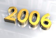 Nuovo anno 2006 in oro (3D) Fotografia Stock Libera da Diritti