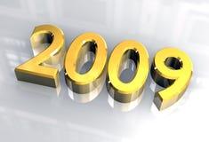 Nuovo anno 2009 in oro (3D) Fotografie Stock Libere da Diritti