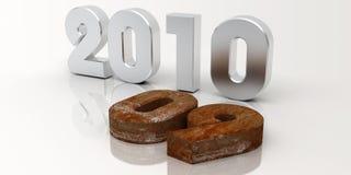 Nuovo anno 2010 arrugginito Fotografia Stock
