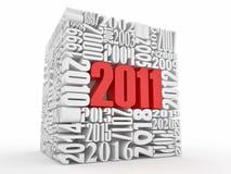 Nuovo anno 2011. Cubo che consiste dei numeri Fotografia Stock