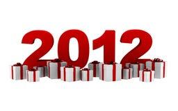 Nuovo anno 2012 con i contenitori di regalo isolati Immagine Stock
