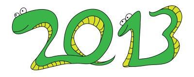 Nuovo anno 2013 del serpente Fotografia Stock Libera da Diritti