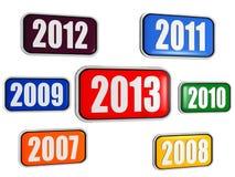 Nuovo anno 2013 ed anni precedenti in bandiere Fotografie Stock