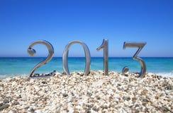 Nuovo anno 2013 sulla spiaggia Fotografia Stock
