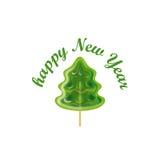 Nuovo anno Albero di Natale nella forma della lecca-lecca sul bastone Immagini Stock