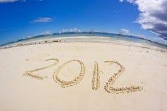 Nuovo anno alla spiaggia 2012 Immagini Stock Libere da Diritti