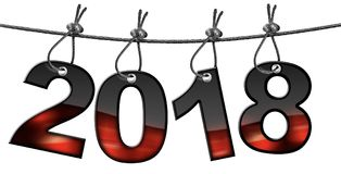 Nuovo anno 2018 - appendendo sul cavo d'acciaio Fotografia Stock Libera da Diritti