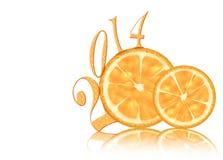 Nuovo anno astratto 2014 del limone Immagini Stock Libere da Diritti
