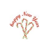 Nuovo anno Bastoncini di zucchero della menta piperita Immagine Stock Libera da Diritti