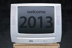 Nuovo anno benvenuto 2013 in televisione Immagine Stock Libera da Diritti