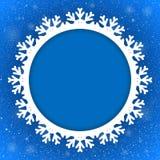Nuovo anno blu del fondo del cerchio neve snowflake Fotografie Stock Libere da Diritti