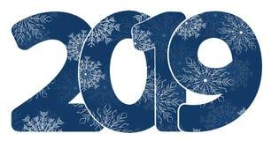 Nuovo anno 2019 calendario Iscrizione bianca, Chrismas allegro Stanze creative minimalisti moderne festive Fondo scuro Smartphone illustrazione di stock