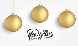Nuovo anno Carta con le palle realistiche di Natale dell'oro Progettazione d'iscrizione dell'insegna del buon anno 2018 Fotografia Stock
