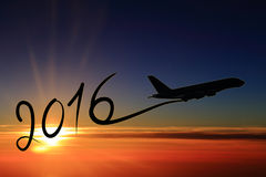 Nuovo anno 2016 che disegna in aeroplano Fotografia Stock