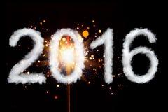 Nuovo anno 2016, cifre di stile del fumo Fotografia Stock