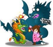 Nuovo anno cinese contro l'anno 2012 dello zodiaco!! Fotografia Stock