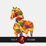 Nuovo anno cinese dell'archivio variopinto di forma del triangolo del cavallo. Fotografia Stock Libera da Diritti