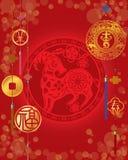 Nuovo anno cinese di fondo delle pecore Fotografie Stock Libere da Diritti