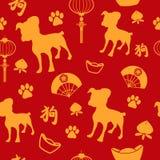 Nuovo anno cinese di fondo senza cuciture del modello della carta da parati del cane illustrazione di stock