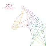 Nuovo anno cinese di illustrazione al tratto del triangolo del cavallo. Fotografia Stock