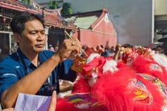 Nuovo anno cinese di Penang il ballo di leoni Fotografie Stock Libere da Diritti