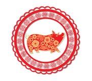 Nuovo anno cinese felice 2019 anni della carta del maiale hanno tagliato lo stile Segno dello zodiaco per la cartolina d'auguri,  illustrazione vettoriale