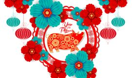 Nuovo anno cinese felice 2019 anni della carta del maiale hanno tagliato lo stile Segno dello zodiaco per la cartolina d'auguri,  royalty illustrazione gratis