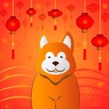 Nuovo anno cinese felice 2018 anni di progettazione di vettore del cane illustrazione di stock