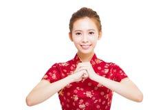 Nuovo anno cinese felice Bella donna asiatica Fotografia Stock Libera da Diritti
