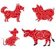 Nuovo anno cinese felice 2018, 2019, 2020, 2021 con il cane, maiale, topo, Buffalo Immagini Stock
