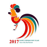Nuovo anno cinese felice del gallo 2017 del fuoco Cartolina d'auguri Immagini Stock Libere da Diritti