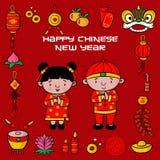 Nuovo anno cinese felice del modello di scarabocchio con l'illustrazione del fumetto, cartolina d'auguri, il carattere cinese è l royalty illustrazione gratis