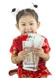 Nuovo anno cinese felice Ragazza asiatica sveglia in cinese di tradizione immagini stock