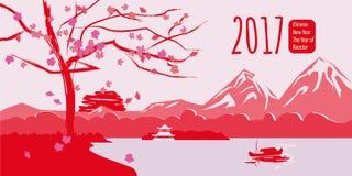 Nuovo anno cinese, gallo, paesaggio cinese del fondo Fotografia Stock