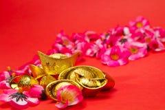 Nuovo anno cinese - lingotti dorati Fotografia Stock