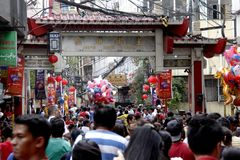 Nuovo anno cinese a Manila Chinatown immagine stock