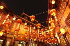 Nuovo anno cinese in vecchia via di Jinli Fotografie Stock Libere da Diritti