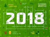 Nuovo anno 2018 come disegno tecnico del modello illustrazione di stock