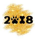 Nuovo anno 2018 con il cane Paw Print di simbolo e la forma dell'osso, superficie di scintillio Fotografia Stock Libera da Diritti