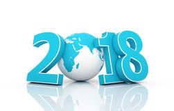 Nuovo anno 2018 con il globo fotografie stock libere da diritti