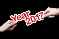 Nuovo anno 2017 con la mano Fotografie Stock Libere da Diritti